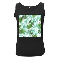 Tropical Pattern Women s Black Tank Top