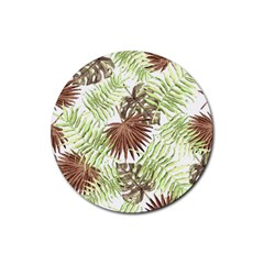 Tropical Pattern Rubber Round Coaster (4 Pack)