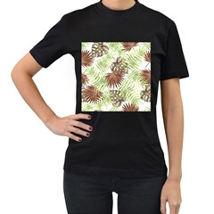 Tropical Pattern Women s T Shirt (black) (two Sided)