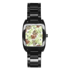 Tropical Pattern Stainless Steel Barrel Watch