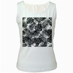 Tropical Pattern Women s White Tank Top
