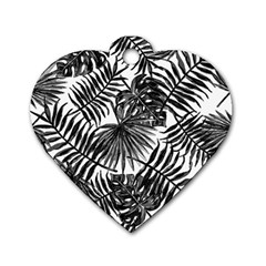 Tropical Pattern Dog Tag Heart (one Side)