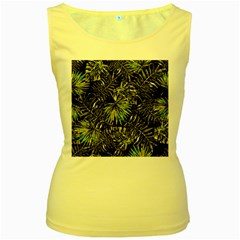 Tropical Pattern Women s Yellow Tank Top