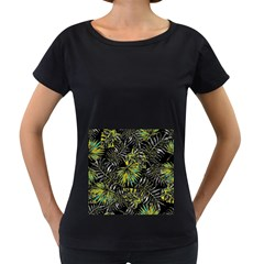 Tropical Pattern Women s Loose Fit T Shirt (black)