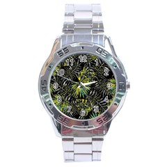 Tropical Pattern Stainless Steel Analogue Watch