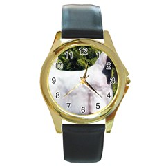 Sealyham Terrier Full 3 Round Gold Metal Watch