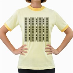 Folklore Pattern Women s Fitted Ringer T Shirts