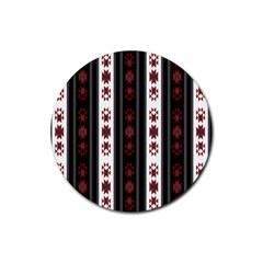 Folklore Pattern Rubber Round Coaster (4 Pack)