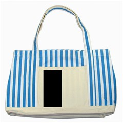Black And White Striped Blue Tote Bag