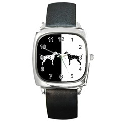 Dalmatian Dog Square Metal Watch