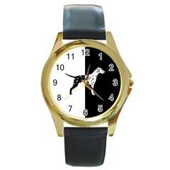 Dalmatian Dog Round Gold Metal Watch