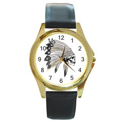 Indian Chef  Round Gold Metal Watch