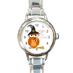 Halloween Orange Witch Owl Round Italian Charm Watch