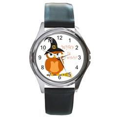Halloween Orange Witch Owl Round Metal Watch