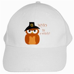 Halloween Orange Witch Owl White Cap