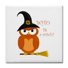 Halloween Orange Witch Owl Tile Coasters