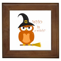 Halloween Orange Witch Owl Framed Tiles