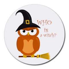 Halloween Orange Witch Owl Round Mousepads