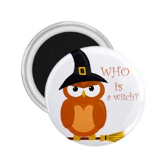 Halloween Orange Witch Owl 2 25  Magnets
