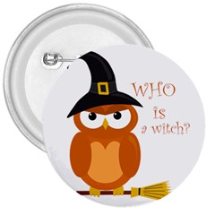Halloween Orange Witch Owl 3  Buttons