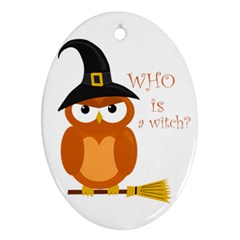Halloween Orange Witch Owl Ornament (oval)