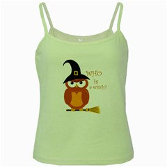 Halloween Orange Witch Owl Green Spaghetti Tank