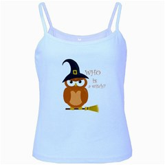Halloween Orange Witch Owl Baby Blue Spaghetti Tank