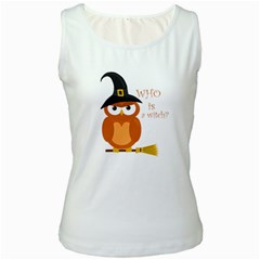 Halloween Orange Witch Owl Women s White Tank Top