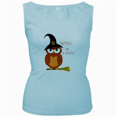 Halloween Orange Witch Owl Women s Baby Blue Tank Top