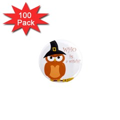 Halloween Orange Witch Owl 1  Mini Magnets (100 Pack)