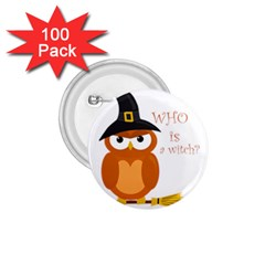 Halloween Orange Witch Owl 1 75  Buttons (100 Pack)