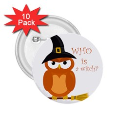 Halloween Orange Witch Owl 2 25  Buttons (10 Pack)