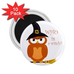 Halloween Orange Witch Owl 2 25  Magnets (10 Pack)