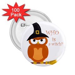 Halloween Orange Witch Owl 2 25  Buttons (100 Pack)