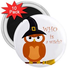 Halloween Orange Witch Owl 3  Magnets (10 Pack)
