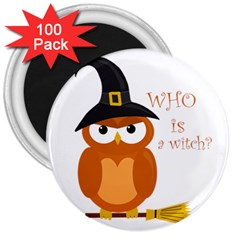 Halloween Orange Witch Owl 3  Magnets (100 Pack)