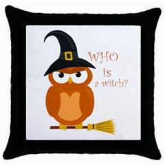 Halloween Orange Witch Owl Throw Pillow Case (black)