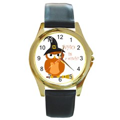 Halloween Orange Witch Owl Round Gold Metal Watch