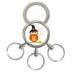 Halloween Orange Witch Owl 3 Ring Key Chains
