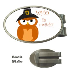 Halloween Orange Witch Owl Money Clips (oval)