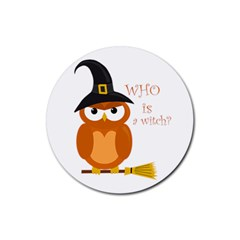 Halloween Orange Witch Owl Rubber Coaster (round)