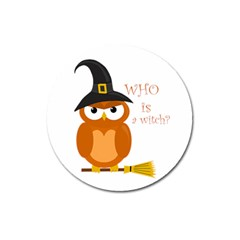 Halloween Orange Witch Owl Magnet 3  (round)
