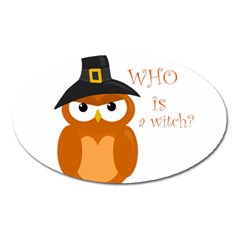 Halloween Orange Witch Owl Oval Magnet