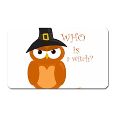 Halloween Orange Witch Owl Magnet (rectangular)