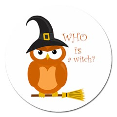 Halloween Orange Witch Owl Magnet 5  (round)