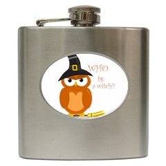 Halloween Orange Witch Owl Hip Flask (6 Oz)