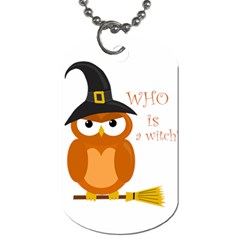 Halloween Orange Witch Owl Dog Tag (two Sides)