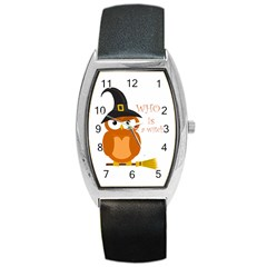 Halloween Orange Witch Owl Barrel Style Metal Watch