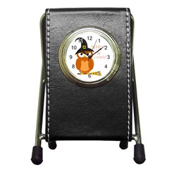 Halloween Orange Witch Owl Pen Holder Desk Clocks