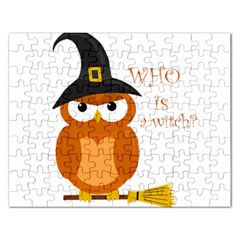 Halloween Orange Witch Owl Rectangular Jigsaw Puzzl